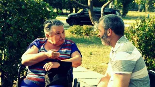 Counseling a refugee from Donetsk